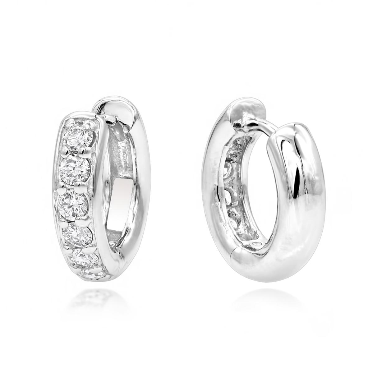 14K Gold Diamond Huggie Earrings Hoops 1/2ct