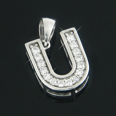 14k gold diamond initial pendant letter u charm 33ct mozeypictures Image collections