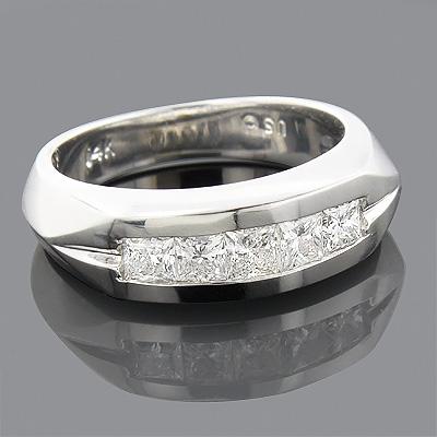 14K Gold 5 Stone Diamond Mens Wedding Band 0.85ct