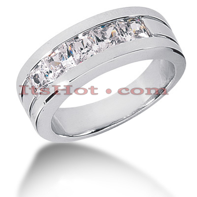14K Gold Diamond Men's Wedding Band 2ct