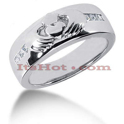 14K Gold Diamond Men's Wedding Ring 0.42ct