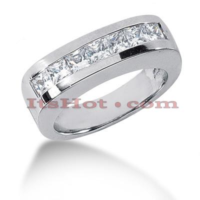 14K Gold Diamond Men's Wedding Ring 1.19ct