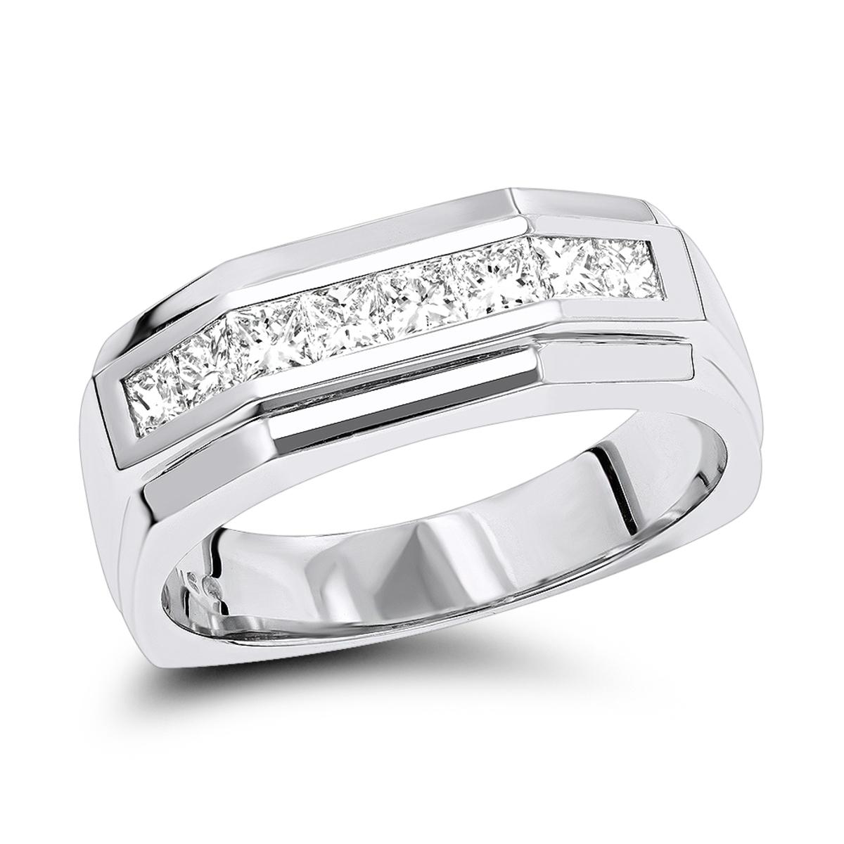 14K Gold Diamond Men's Wedding Ring 1.36ct