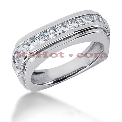 14K Gold Diamond Men's Wedding Ring 1.54ct