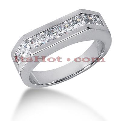 14K Gold Diamond Men's Wedding Ring 1.98ct