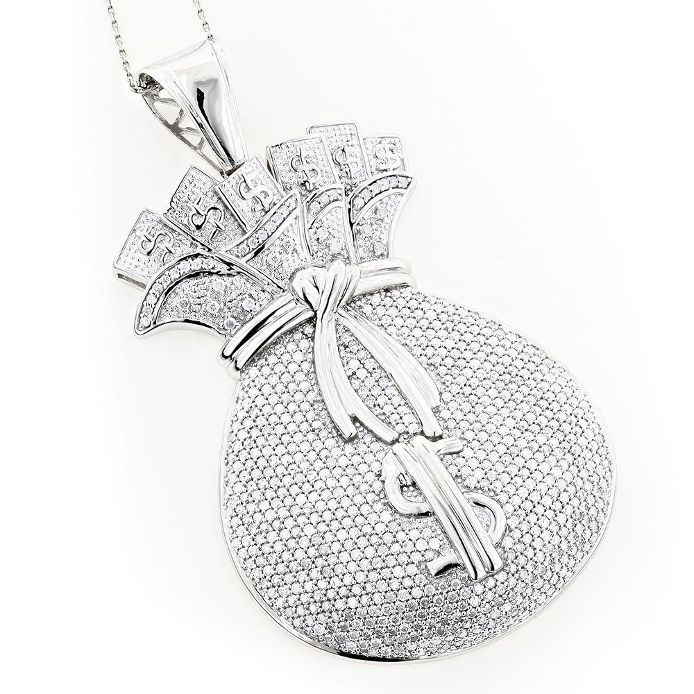 14K Gold Diamond Money Stacks Bag Pendant 11.16ct