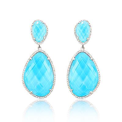 14K Gold Diamond Ocean Blue Topaz Earrings