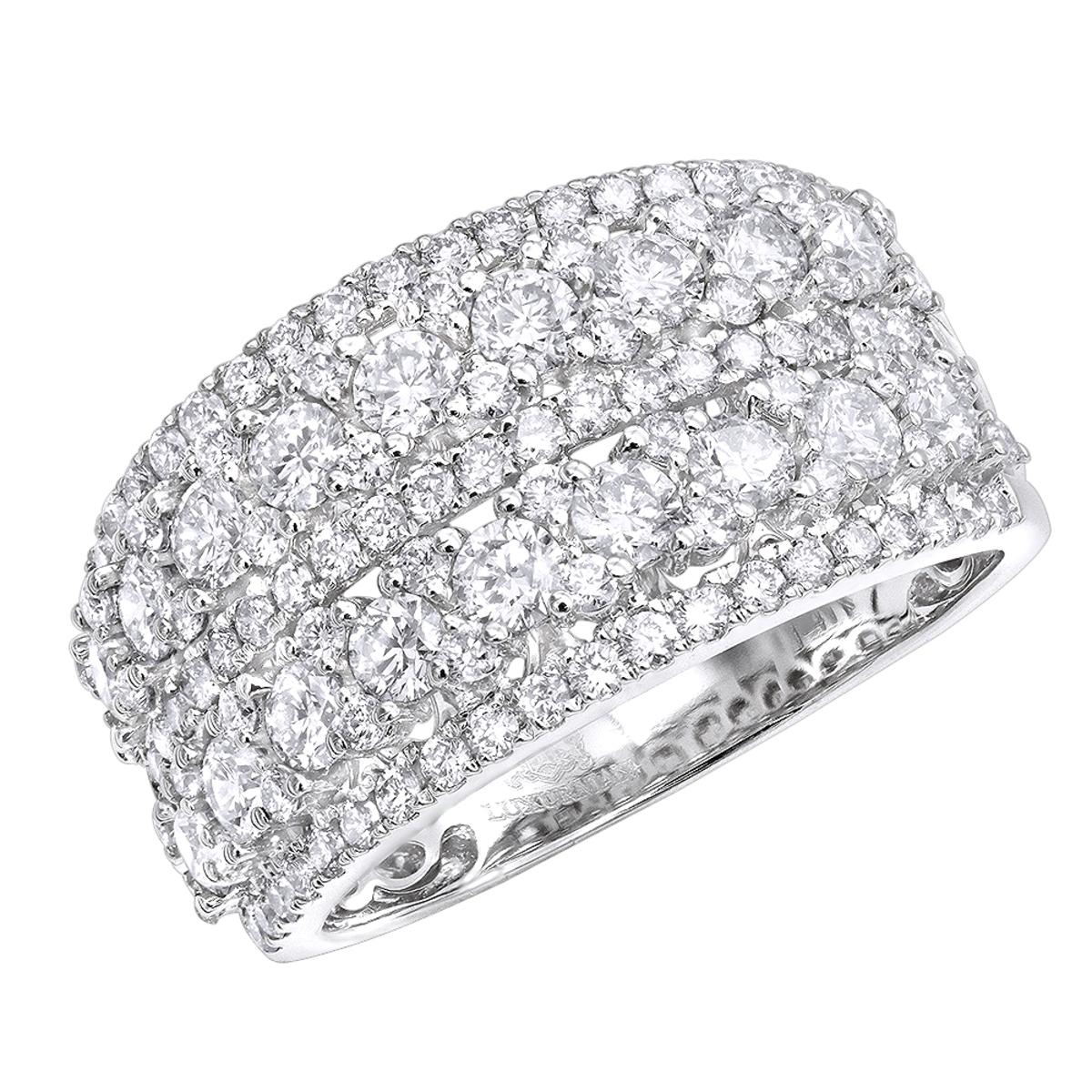 14k Gold Diamond Ring for Women 2 Carat Unique Diamond Wedding Band