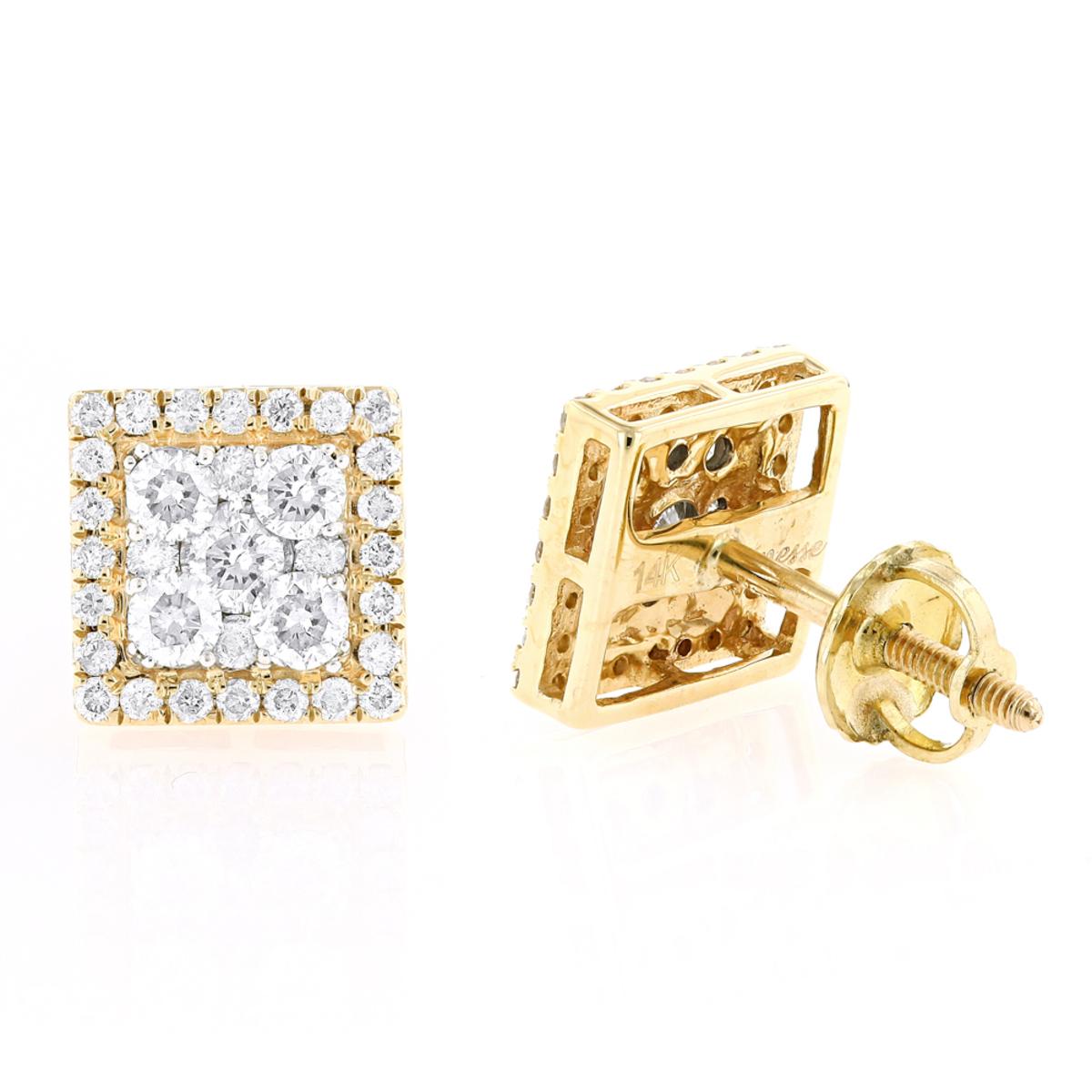 Square 14K Gold Diamond Stud Earrings 1.1ct