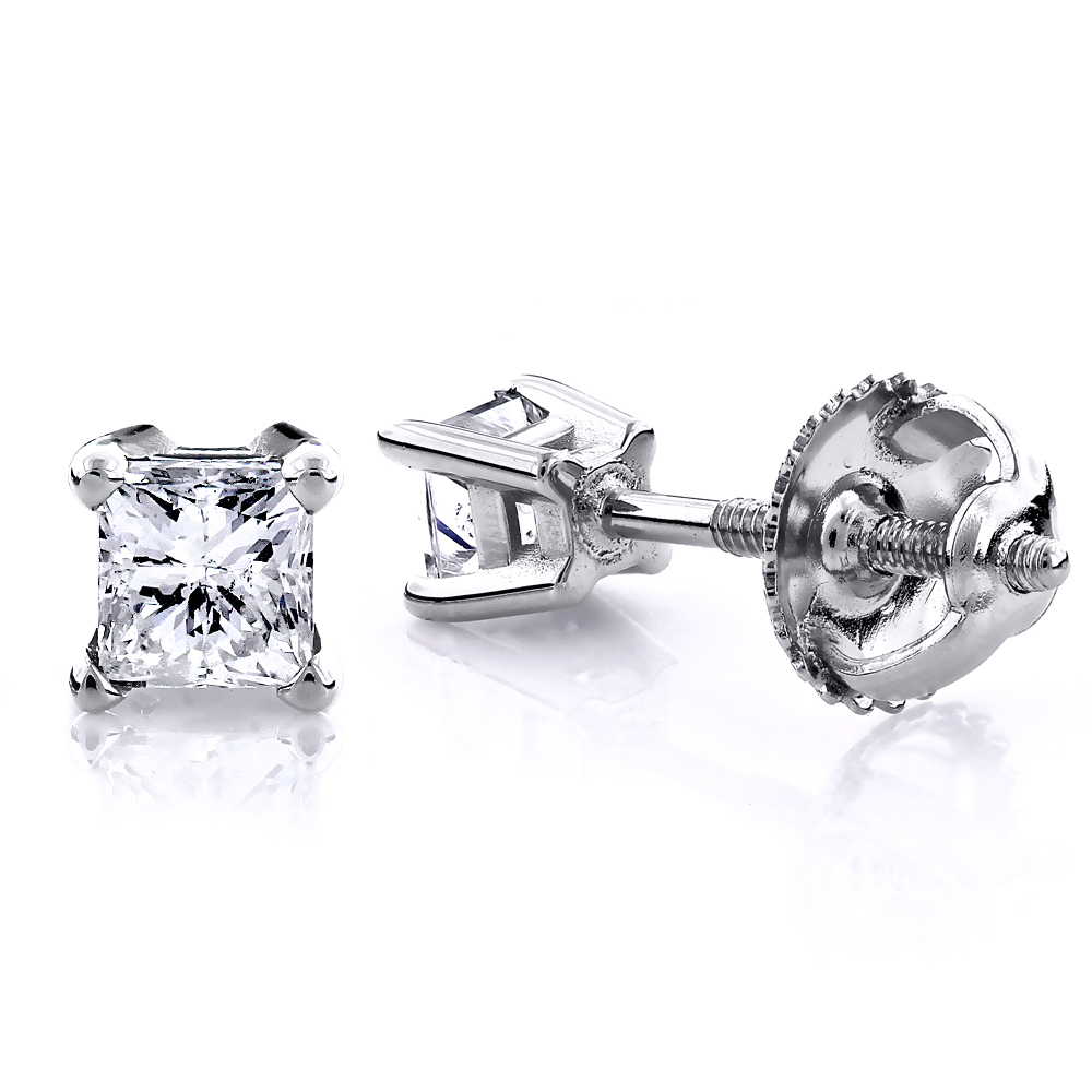 1/2 Carat 14K Gold Diamond Stud Earrings Princess Diamonds .5ct