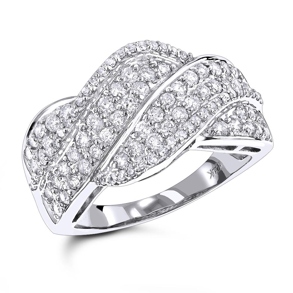 14K Gold Diamond Swirl Ring 1.27ct