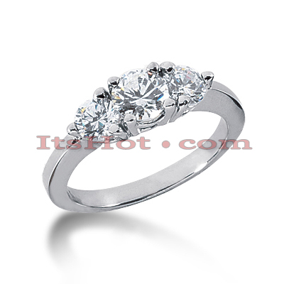 14K Gold Diamond Three Stone Engagement Ring 0.35ct