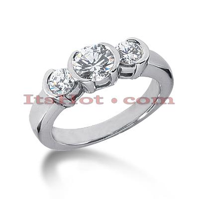 14K Gold Diamond Three Stone Engagement Ring 0.39ct