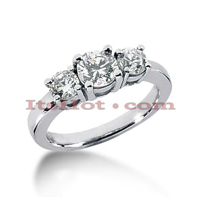 14K Gold Diamond Three Stone Engagement Ring 0.40ct