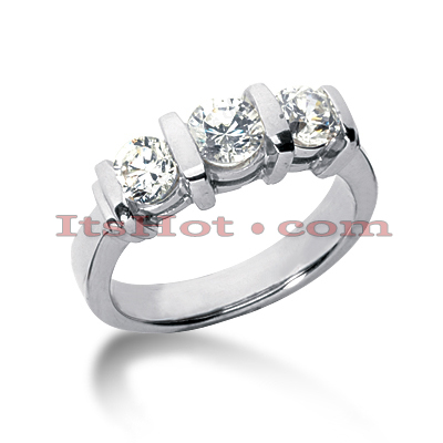 14K Gold Diamond Three Stone Engagement Ring 0.45ct