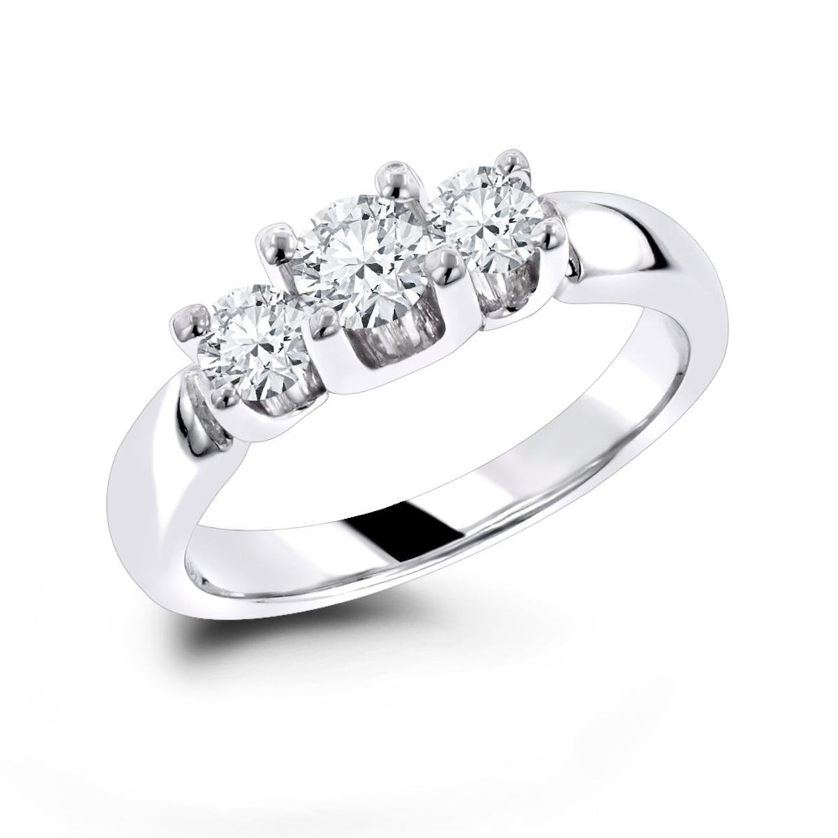 14K Gold Diamond Three Stone Engagement Ring 0.60ct