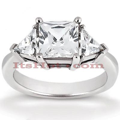 Thin 14K Gold Diamond Three Stone Engagement Ring 0.70ct