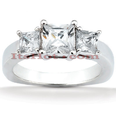 14K Gold Diamond Three Stone Engagement Ring 0.74ct