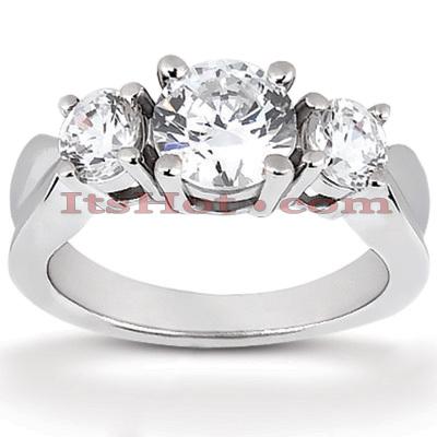 14K Gold Diamond Three Stone Engagement Ring 0.80ct