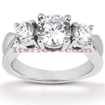 Thin 14K Gold Diamond Three Stone Engagement Ring 0.80ct