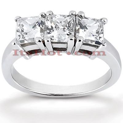 14K Gold Diamond Three Stone Engagement Ring 0.90ct