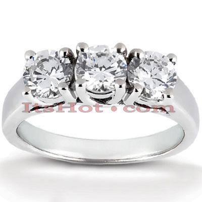 14K Gold Diamond Three Stone Engagement Ring 0.99ct