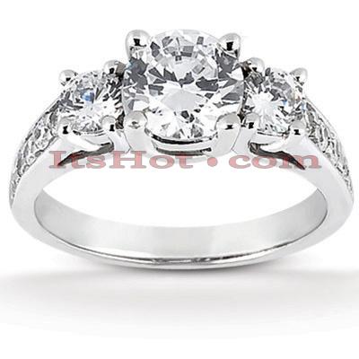 14K Gold Diamond Three Stone Engagement Ring 1.05ct