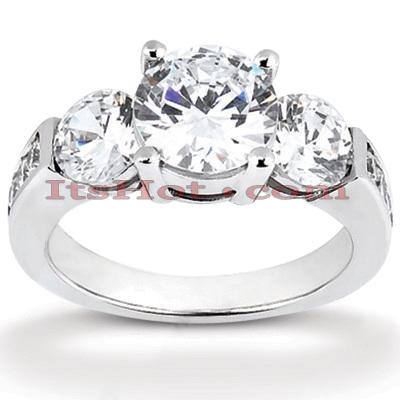 14K Gold Diamond Three Stone Engagement Ring 1.15ct