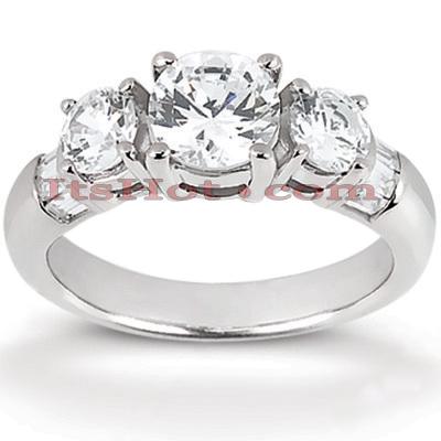 14K Gold Diamond Three Stone Engagement Ring 1.20ct
