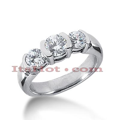 14K Gold Diamond Three Stone Engagement Ring 1.30ct