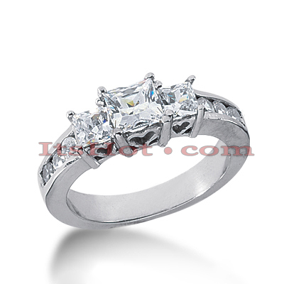 14K Gold Diamond Three Stone Engagement Ring 1.41ct