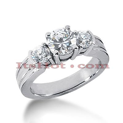 14K Gold Diamond Three Stone Engagement Ring 1.60ct