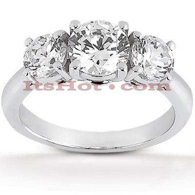 14K Gold Diamond Three Stone Engagement Ring 1ct
