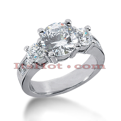 14K Gold Diamond Three Stone Engagement Ring 2.94ct