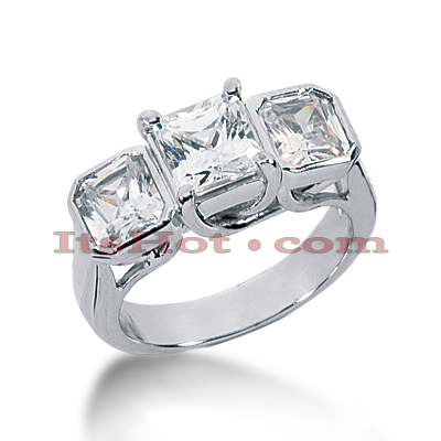 14K Gold Diamond Three Stone Engagement Ring 3.50ct