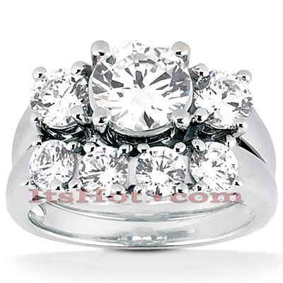 14K Gold Diamond Three Stone Engagement Ring Set 1.28c