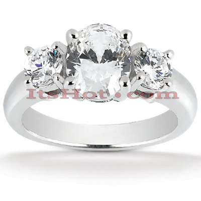 14K Gold Diamond Three Stones Engagement Ring 0.70ct