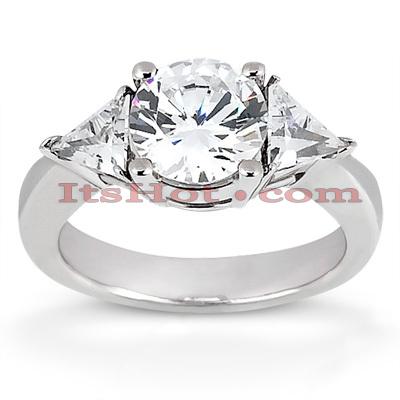 14K Gold Diamond Three Stones Engagement Ring 0.80ct