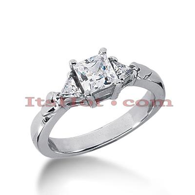 14K Gold Diamond Three Stones Engagement Ring 0.83ct