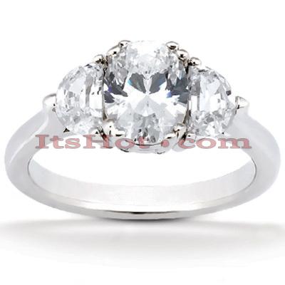 14K Gold Diamond Three Stones Engagement Ring 0.90ct