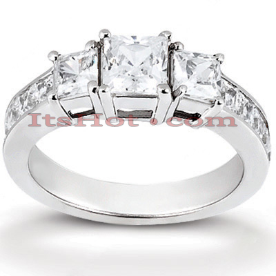 14K Gold Diamond Three Stones Engagement Ring 0.94ct