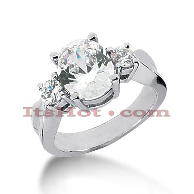 14K Gold Diamond Three Stones Engagement Ring 1.75ct