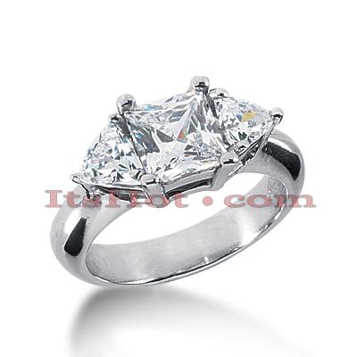 14K Gold Diamond Three Stones Engagement Ring 2.20ct