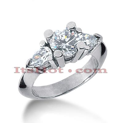 14K Gold Diamond Three Stones Engagement Ring 2.25ct