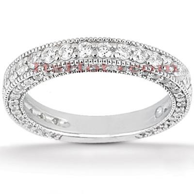 Ultra Thin 14K Gold Diamond Unique Engagement Band 0.95ct