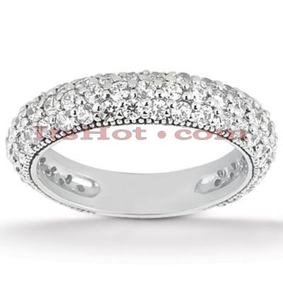 Thin 14K Gold Diamond Unique Engagement Band 0.97ct