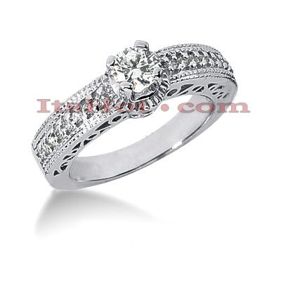 14K Gold Diamond Unique Engagement Ring 0.66ct