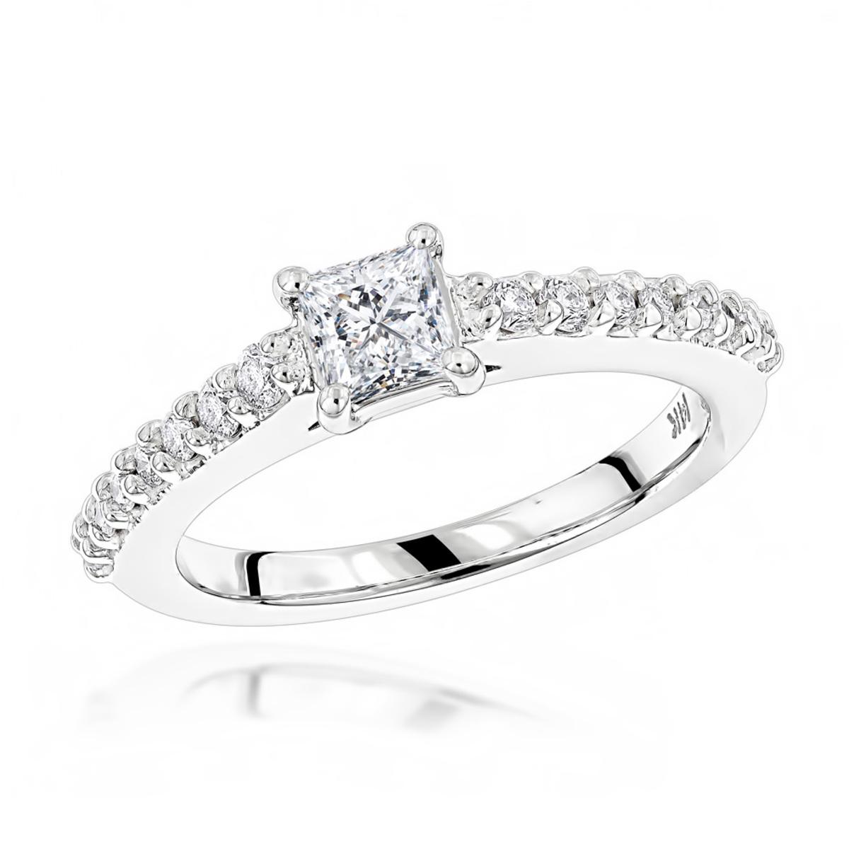 14K Gold Diamond Unique Engagement Ring 0.70ct