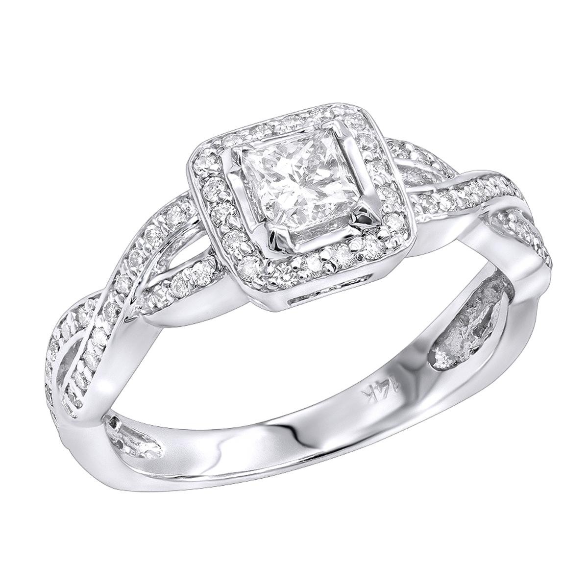 14K Gold Diamond Unique Engagement Ring 0.75ct