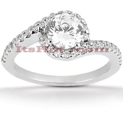 14K Gold Diamond Unique Engagement Ring 0.76ct